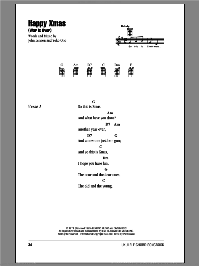 Happy Xmas (War Is Over) sheet music for ukulele (chords) by Yoko Ono and John Lennon. Score Image Preview.
