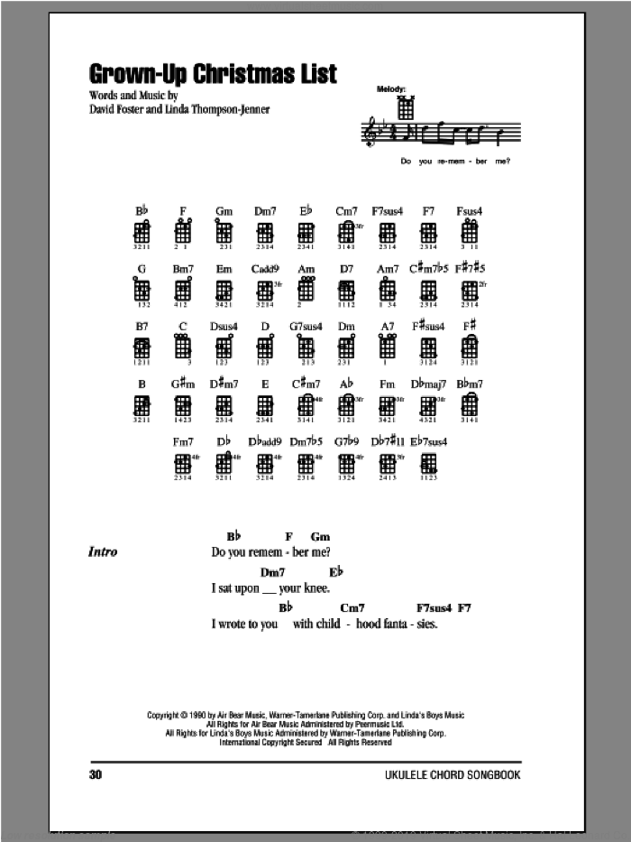 grown up christmas list sheet music for ukulele chords by amy grant