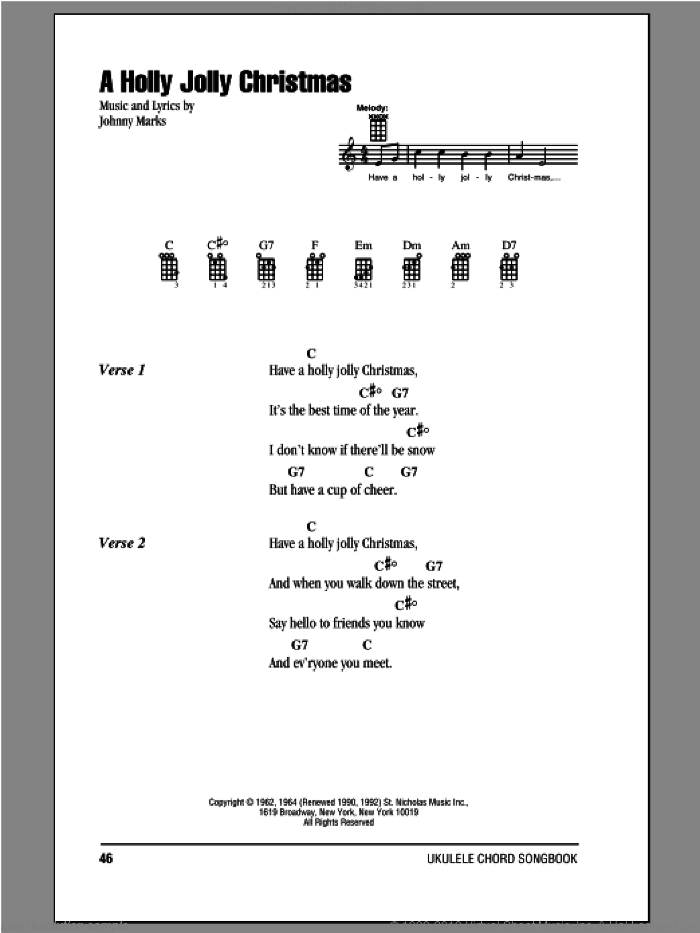 A Holly Jolly Christmas sheet music for ukulele (chords) by Johnny Marks, intermediate skill level