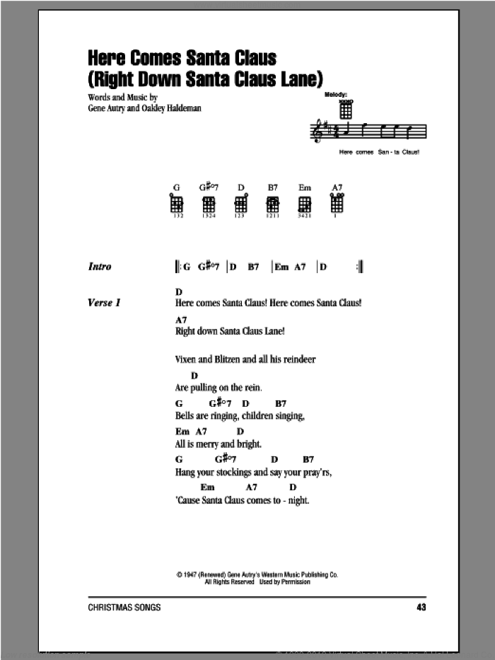 Here Comes Santa Claus (Right Down Santa Claus Lane) sheet music for ukulele (chords) by Gene Autry, Carpenters and Oakley Haldeman, intermediate