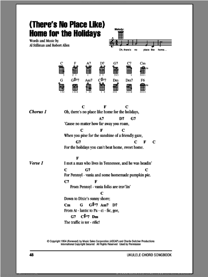 (There's No Place Like) Home For The Holidays sheet music for ukulele (chords) by Robert Allen