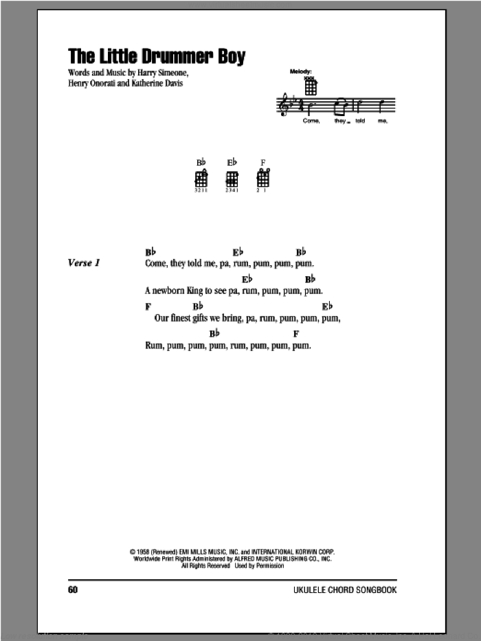 The Little Drummer Boy sheet music for ukulele (chords) by Katherine Davis, intermediate