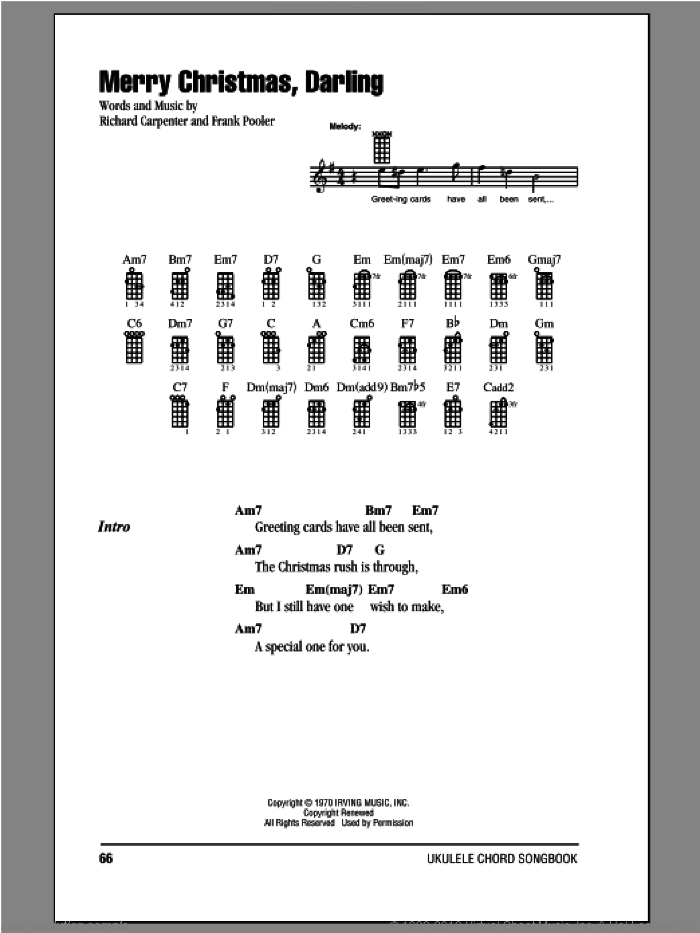 Merry Christmas, Darling sheet music for ukulele (chords) by Carpenters, Frank Pooler and Richard Carpenter, intermediate
