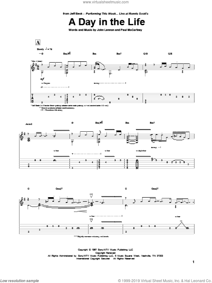 A Day In The Life sheet music for guitar (tablature) by Paul McCartney, Jeff Beck, John Lennon and The Beatles