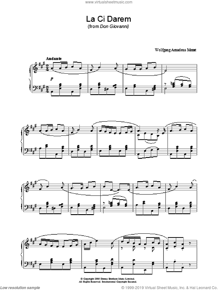 La Ci Darem La Mano (from Don Giovanni) sheet music for piano solo by Wolfgang Amadeus Mozart, classical score, intermediate skill level
