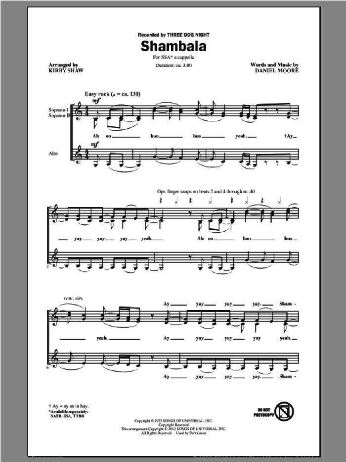 Shambala sheet music for choir (SSA: soprano, alto) by Kirby Shaw and Three Dog Night, intermediate skill level