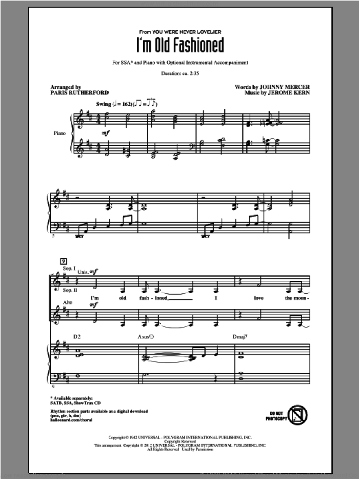 I'm Old Fashioned sheet music for choir (SSA: soprano, alto) by Johnny Mercer, Jerome Kern and Paris Rutherford, intermediate skill level