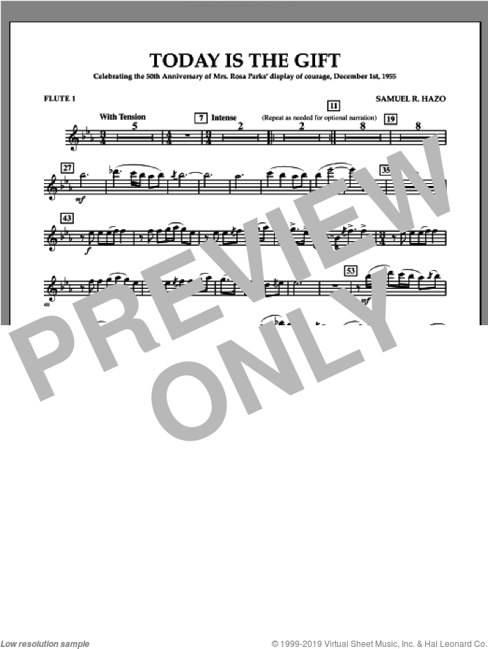 Today Is The Gift (complete set of parts) sheet music for concert band by Samuel R. Hazo, intermediate skill level