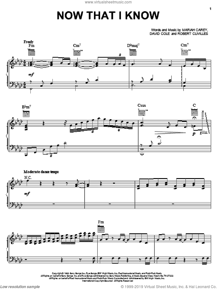 Now That I Know sheet music for voice, piano or guitar by Robert Clivilles and Mariah Carey. Score Image Preview.