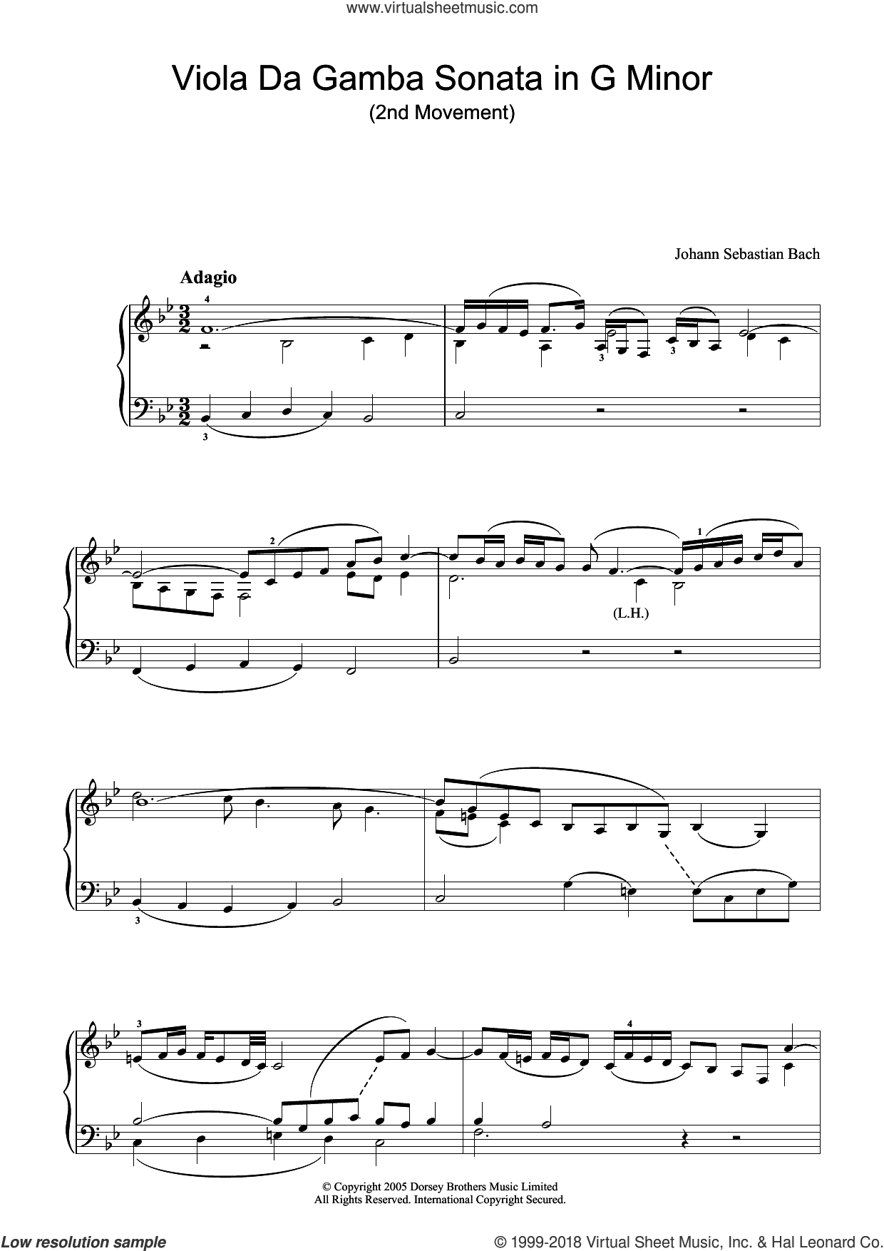 Viola da Gamba Sonata In G Minor (2nd Movement) sheet music for piano solo by Johann Sebastian Bach, classical score, intermediate skill level