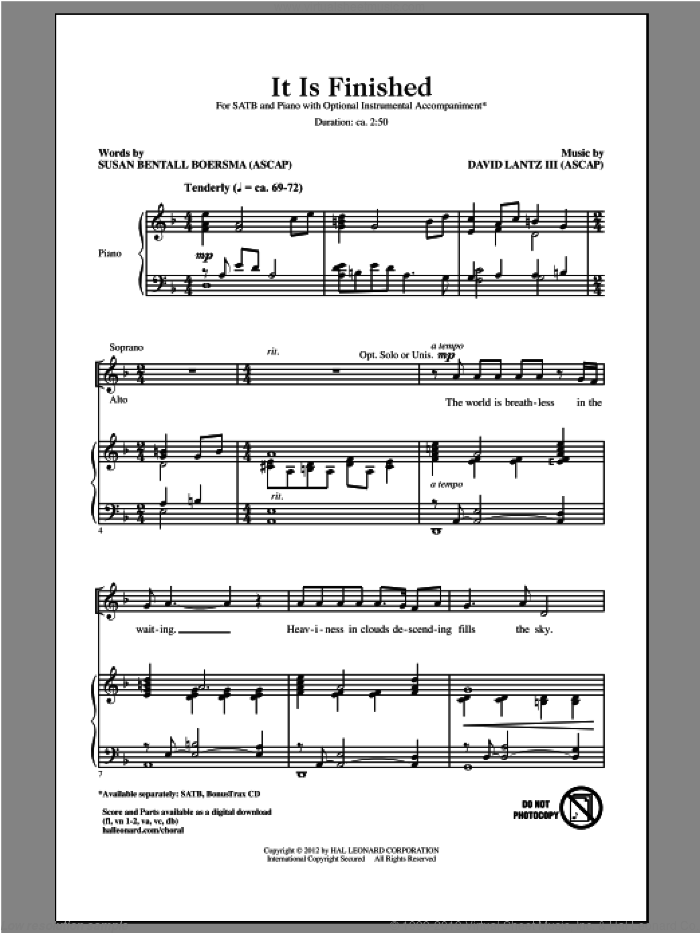 It Is Finished sheet music for choir (SATB: soprano, alto, tenor, bass) by David Lantz and Susan Boersma, intermediate