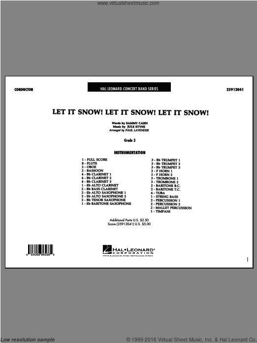 Let It Snow! Let It Snow! Let It Snow! (COMPLETE) sheet music for concert band by Jule Styne, Paul Lavender and Sammy Cahn. Score Image Preview.