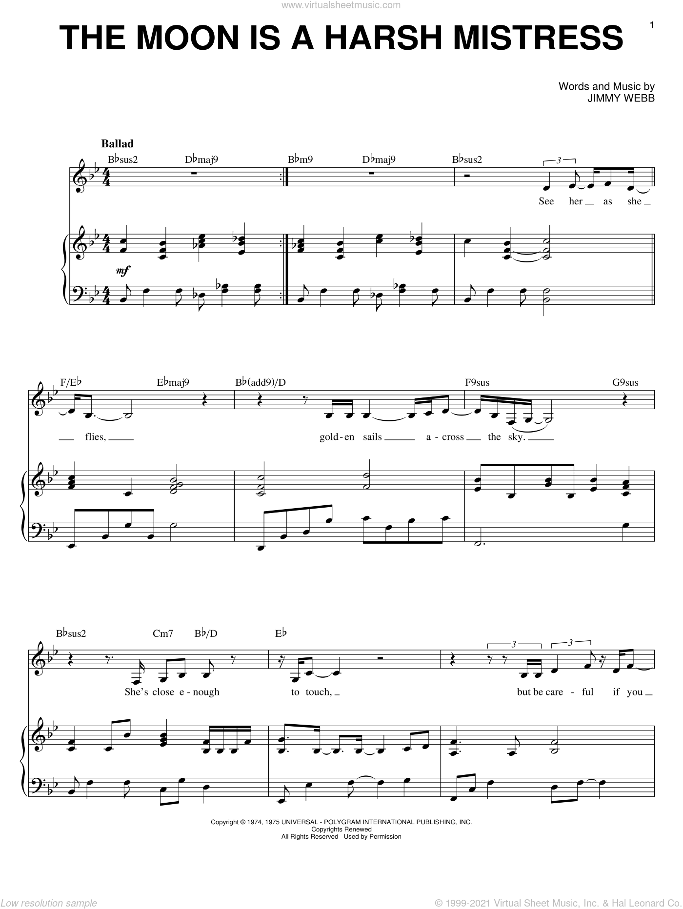 The Moon Is A Harsh Mistress sheet music for voice, piano or guitar by Karrin Allyson and Jimmy Webb, intermediate skill level