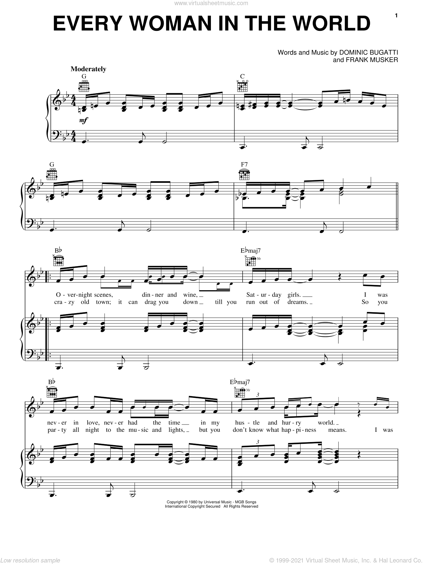 Every Woman In The World sheet music for voice, piano or guitar by Air Supply, Dominic Bugatti and Frank Musker, intermediate skill level