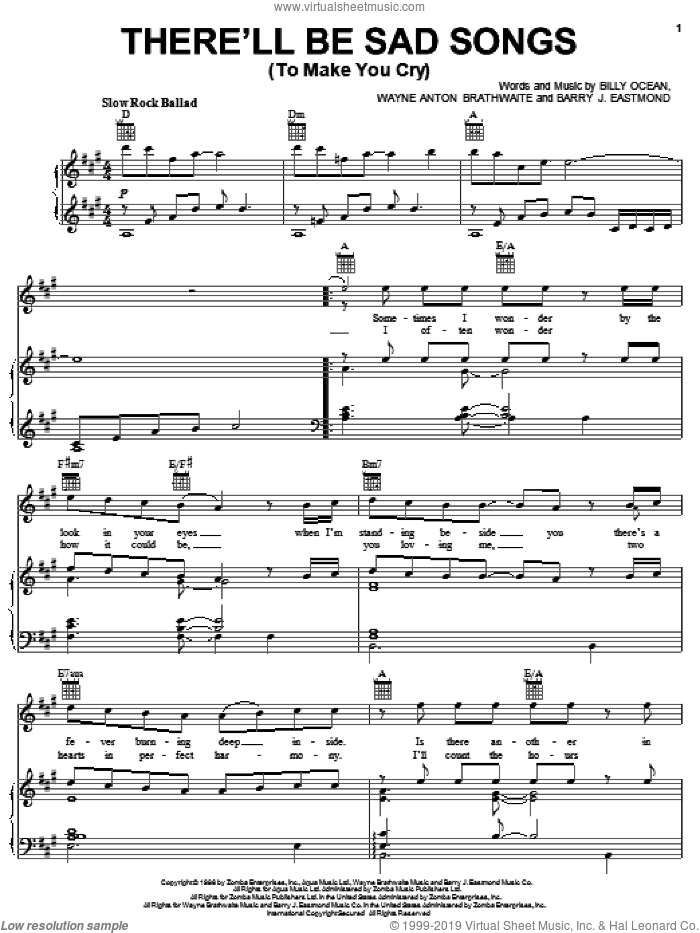 Ocean - There'll Be Sad Songs (To Make You Cry) sheet music for voice,  piano or guitar