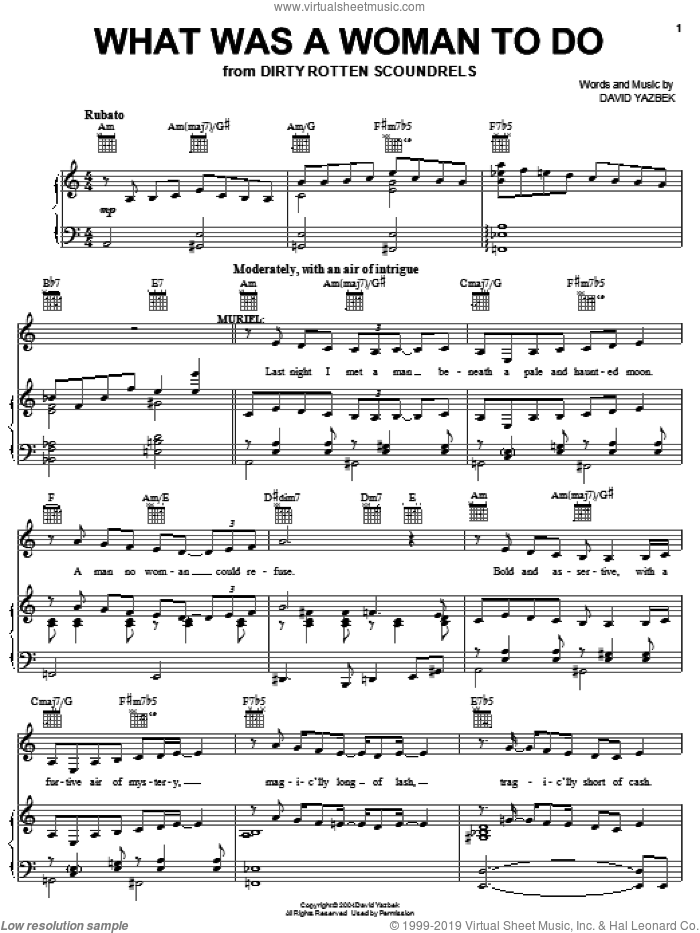 What Was A Woman To Do sheet music for voice, piano or guitar by David Yazbek, intermediate. Score Image Preview.