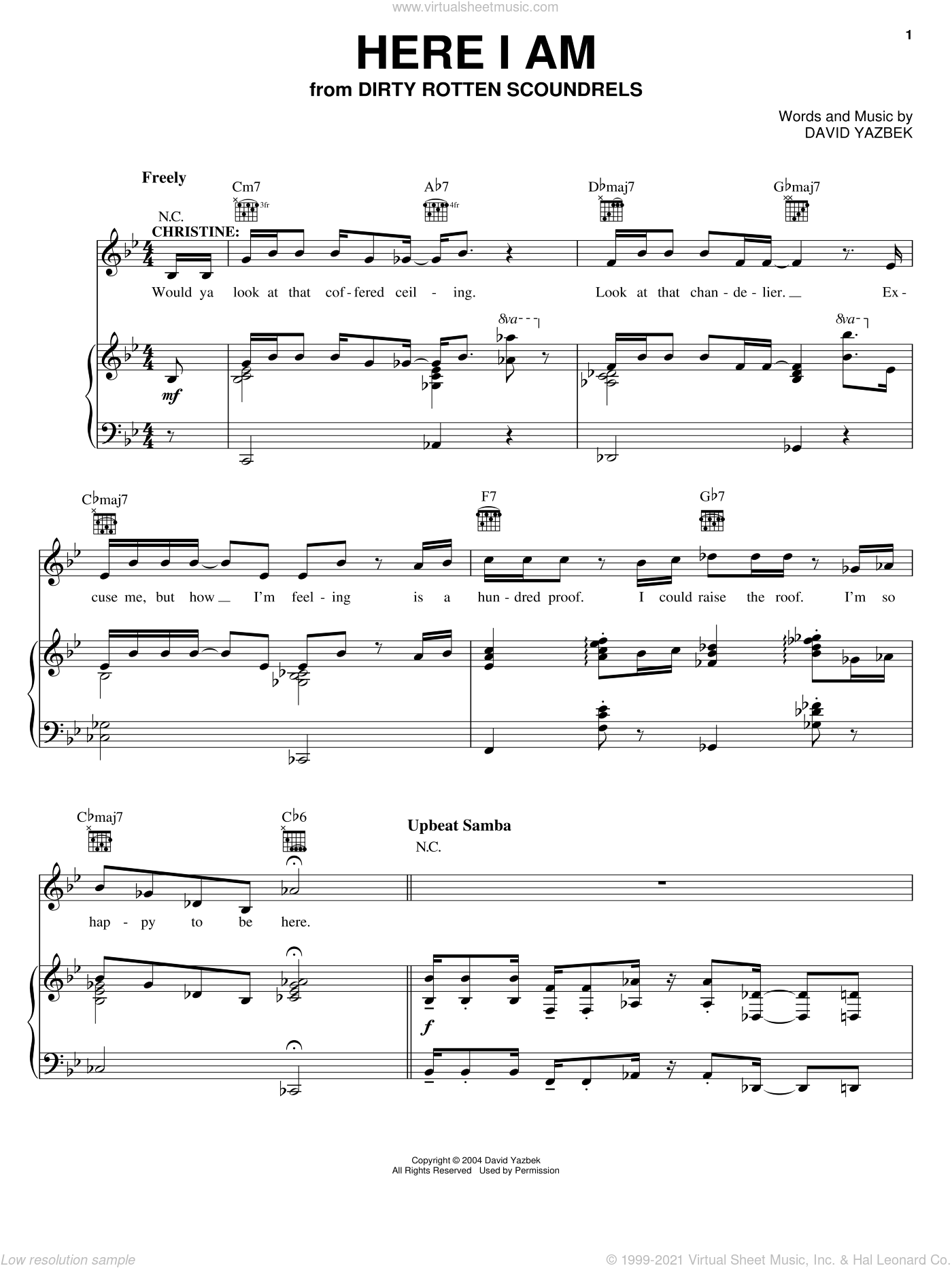 Here I Am sheet music for voice, piano or guitar by David Yazbek and Dirty Rotten Scoundrels (Musical), intermediate skill level