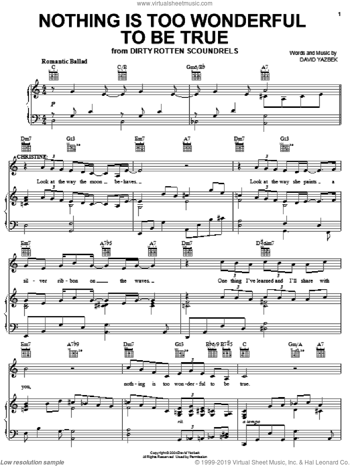 Nothing Is Too Wonderful To Be True sheet music for voice, piano or guitar by David Yazbek and Dirty Rotten Scoundrels (Musical), intermediate skill level