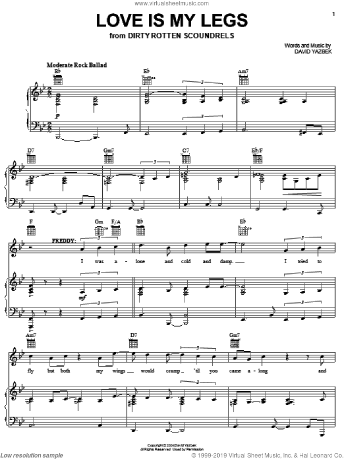 Love Is My Legs sheet music for voice, piano or guitar by David Yazbek and Dirty Rotten Scoundrels (Musical), intermediate skill level