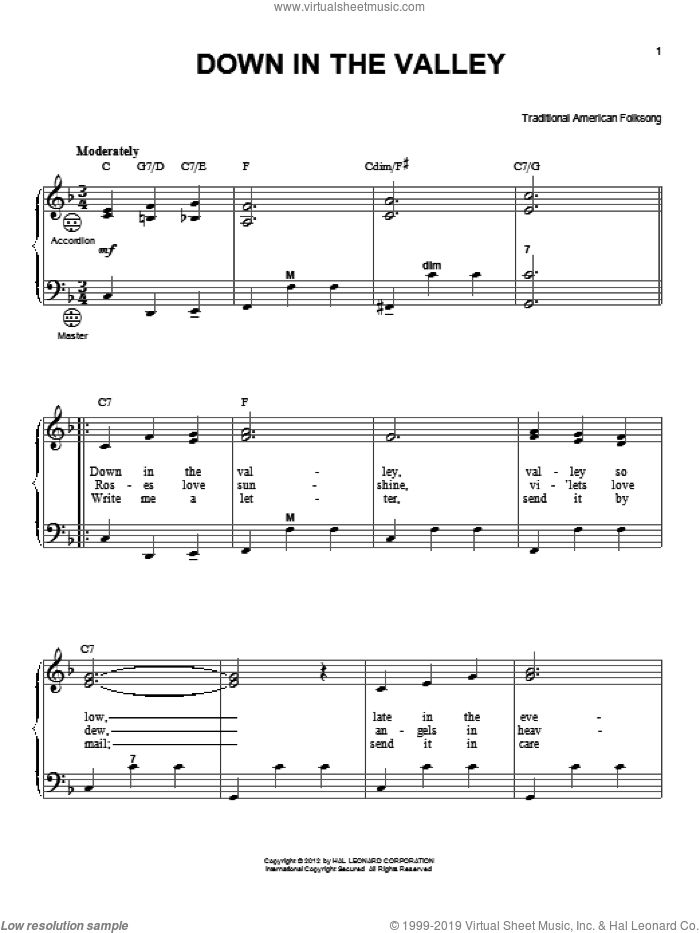 Down In The Valley sheet music for accordion by Gary Meisner and Miscellaneous, intermediate