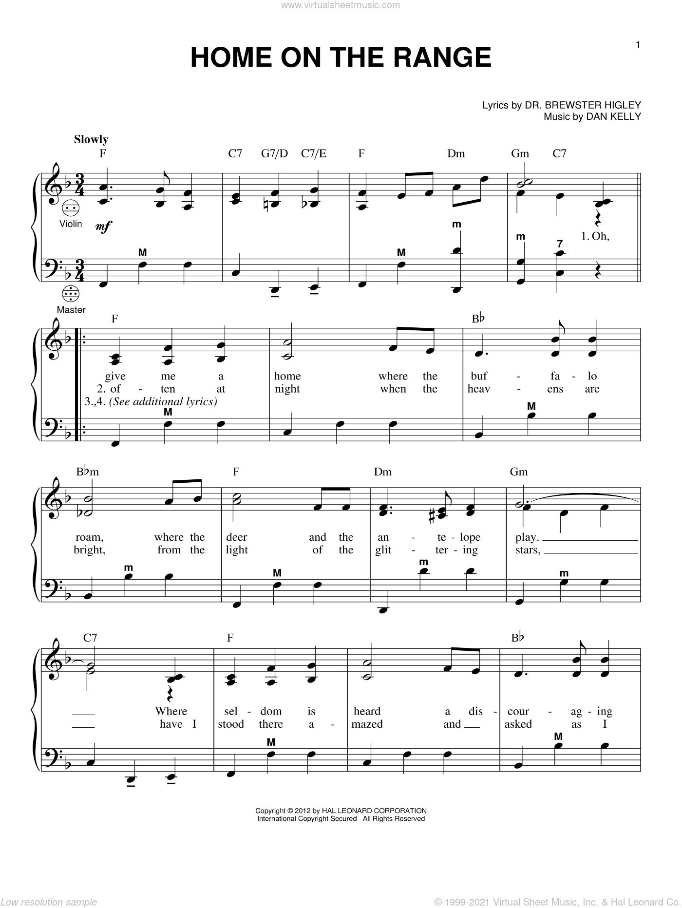 Home On The Range sheet music for accordion by Dan Kelly