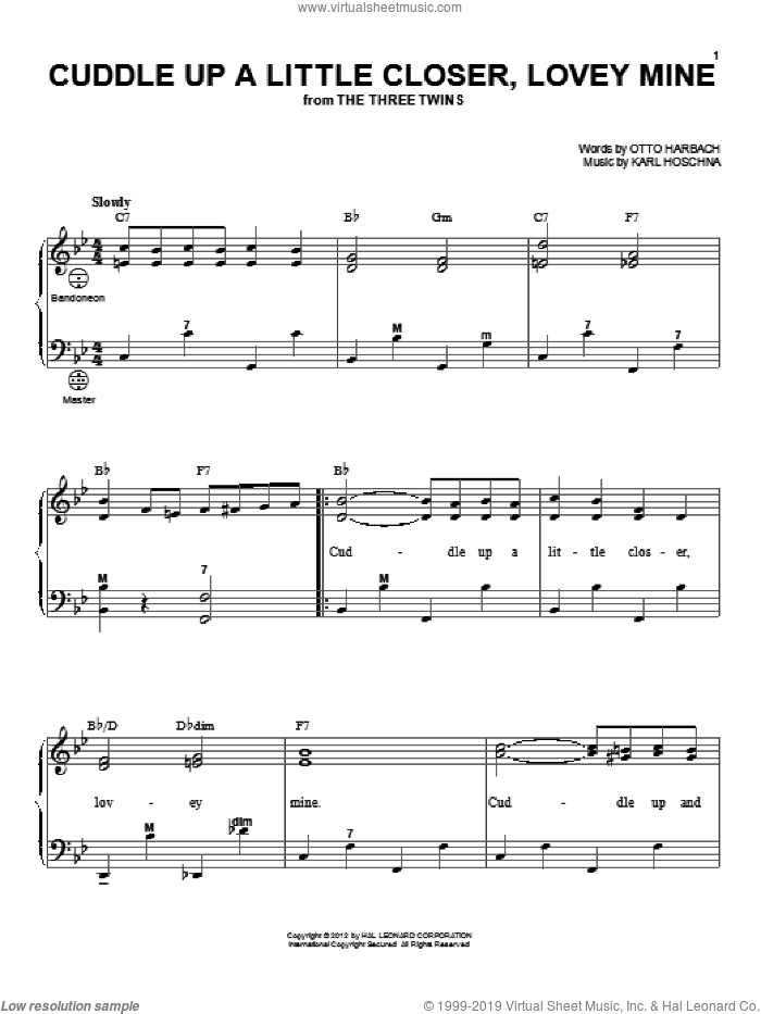 Cuddle Up A Little Closer, Lovey Mine sheet music for accordion by Otto Harbach