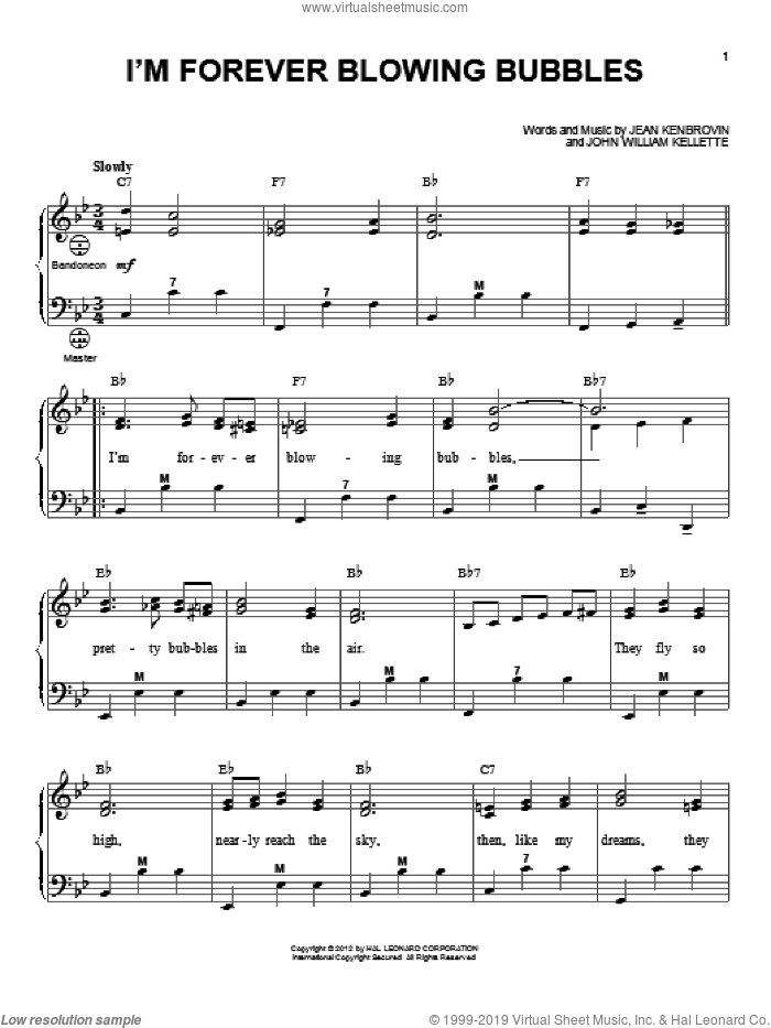 I'm Forever Blowing Bubbles sheet music for accordion by Gary Meisner, Jean Kenbrovin and John William Kellette, intermediate skill level