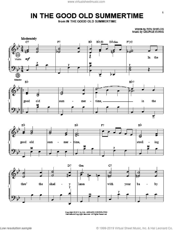 In The Good Old Summertime sheet music for accordion by Ren Shields