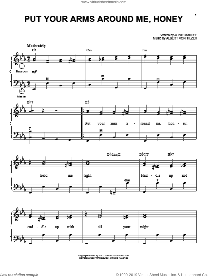 Put Your Arms Around Me, Honey sheet music for accordion by Junie McCree, Albert von Tilzer and Gary Meisner. Score Image Preview.