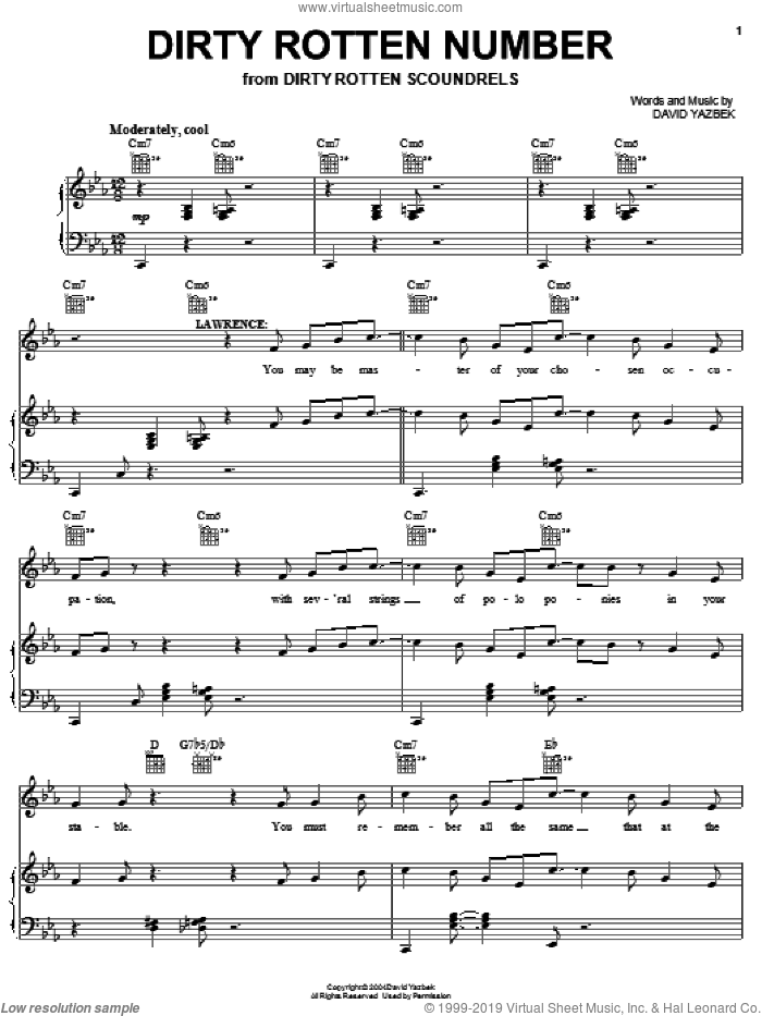 Dirty Rotten Number sheet music for voice, piano or guitar by David Yazbek, intermediate. Score Image Preview.