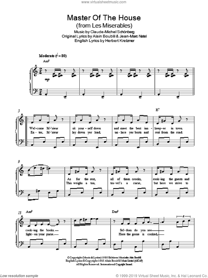 Master Of The House (from Les Miserables) sheet music for piano solo by Claude-Michel Schonberg, Alain Boublil, Herbert Kretzmer and Jean-Marc Natel, easy skill level