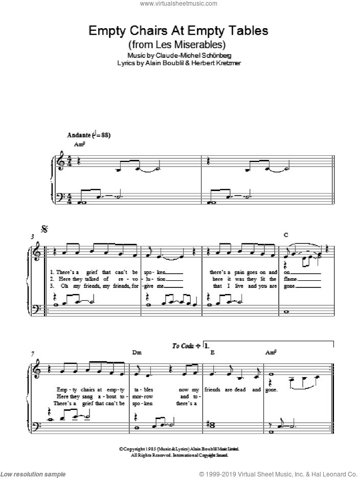 Empty Chairs At Empty Tables (from Les Miserables) sheet music for piano solo by Herbert Kretzmer, Alain Boublil and Claude-Michel Schonberg. Score Image Preview.