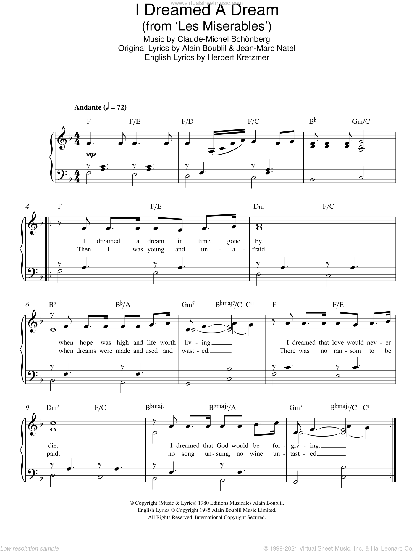 I Dreamed A Dream (from Les Miserables) sheet music for piano solo by Claude-Michel Schonberg, Alain Boublil, Herbert Kretzmer and Jean-Marc Natel, easy skill level