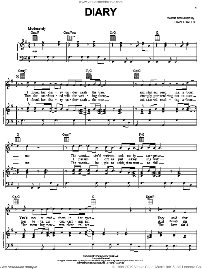 Diary sheet music for voice, piano or guitar by David Gates, intermediate. Score Image Preview.