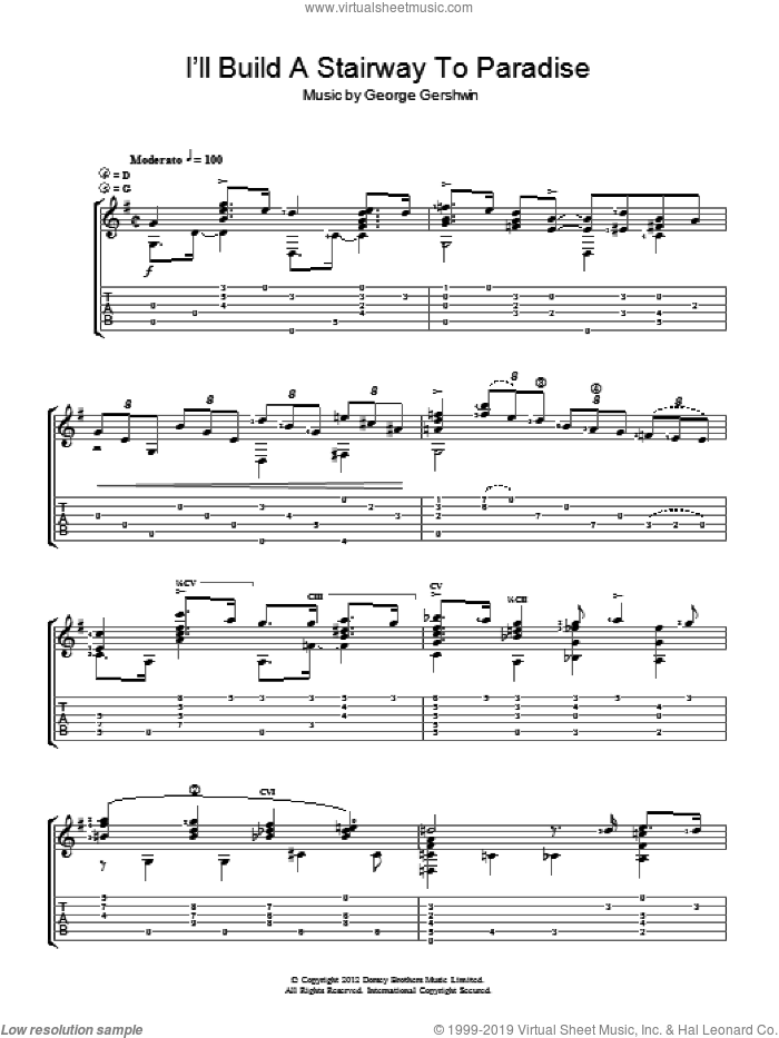 I'll Build A Stairway To Paradise sheet music for guitar solo (chords) by Jerry Willard and George Gershwin, easy guitar (chords)