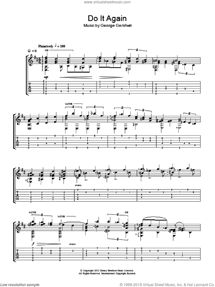 Do It Again sheet music for guitar solo (chords) by Jerry Willard and George Gershwin, easy guitar (chords)