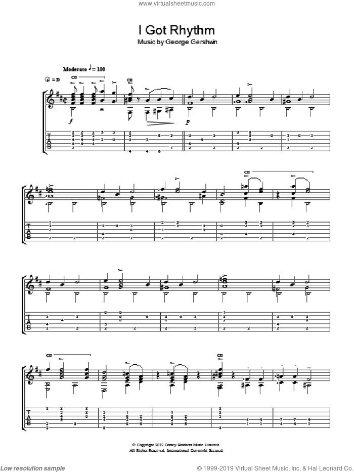 I Got Rhythm sheet music for guitar solo (chords) by George Gershwin