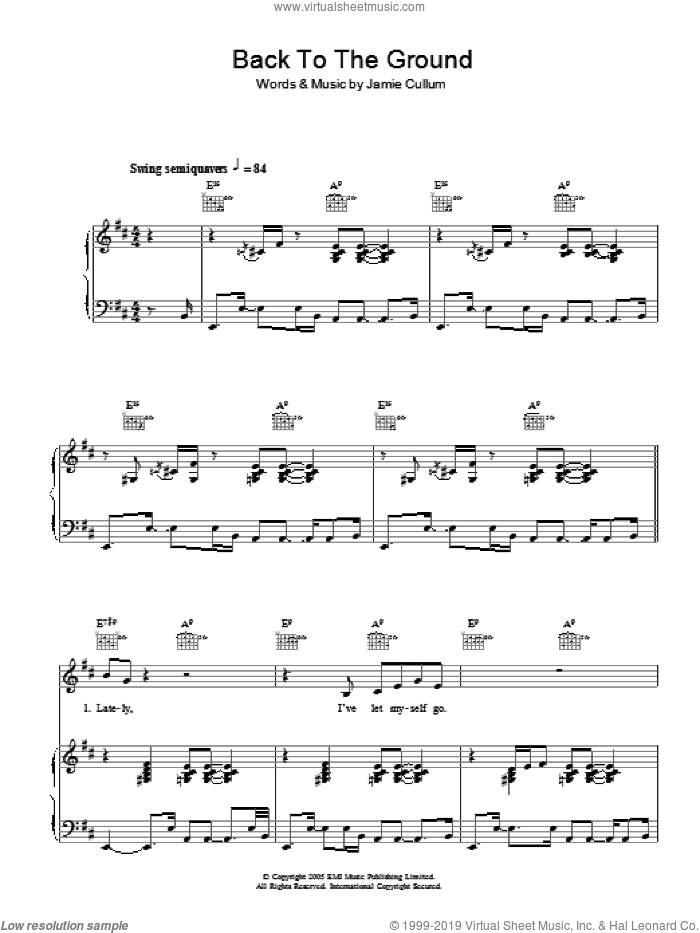 Back To The Ground sheet music for voice, piano or guitar by Jamie Cullum