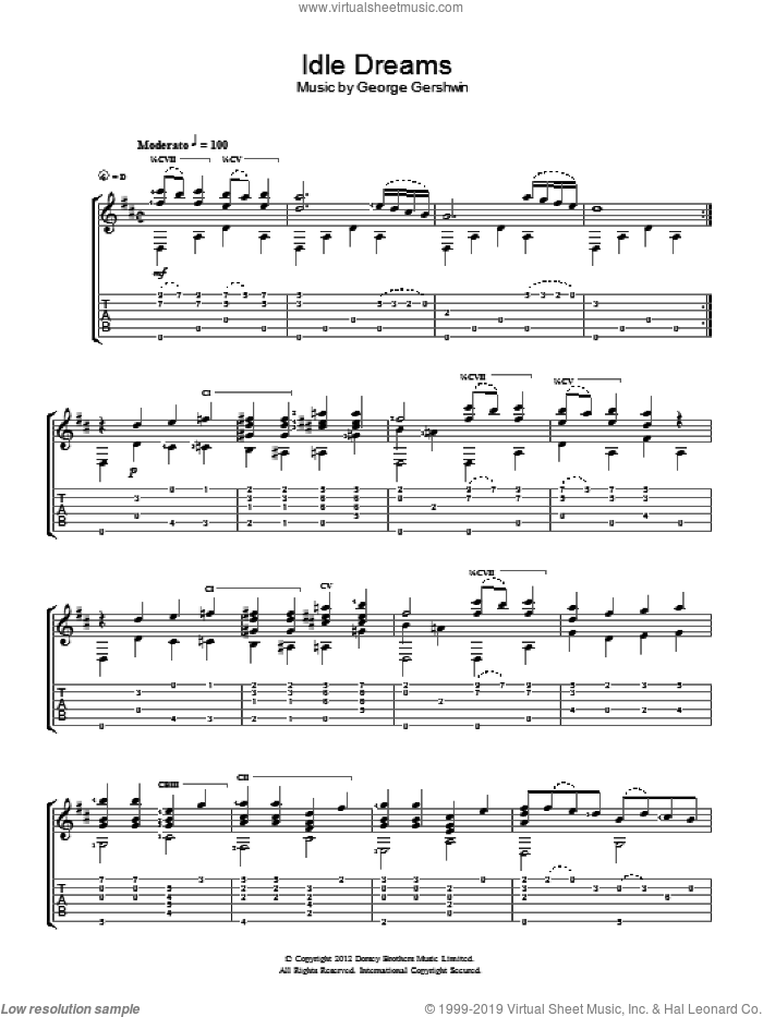 Idle Dreams sheet music for guitar solo (chords) by George Gershwin. Score Image Preview.