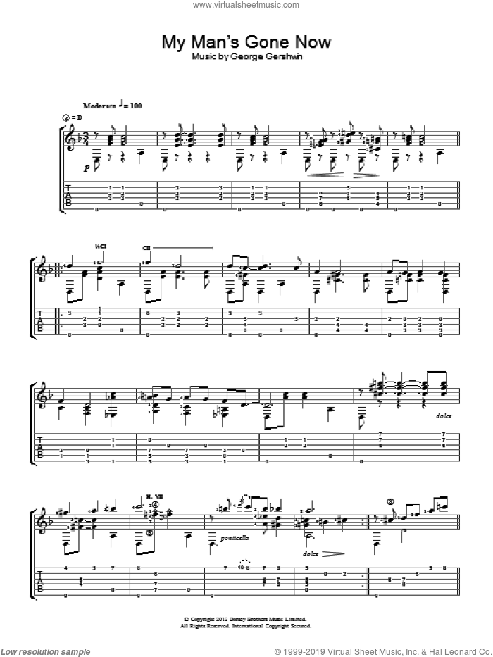 My Man's Gone Now sheet music for guitar solo (chords) by George Gershwin