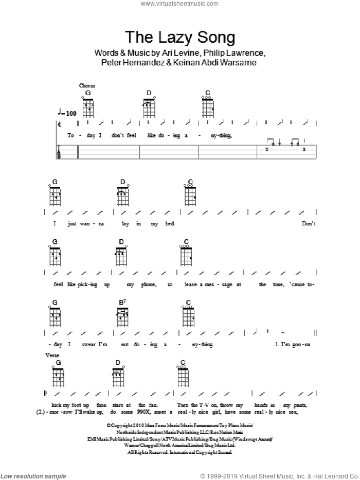 The Lazy Song sheet music for ukulele (chords) by Philip Lawrence