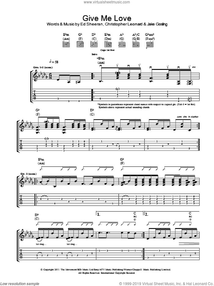 Give Me Love sheet music for guitar (tablature) by Ed Sheeran. Score Image Preview.