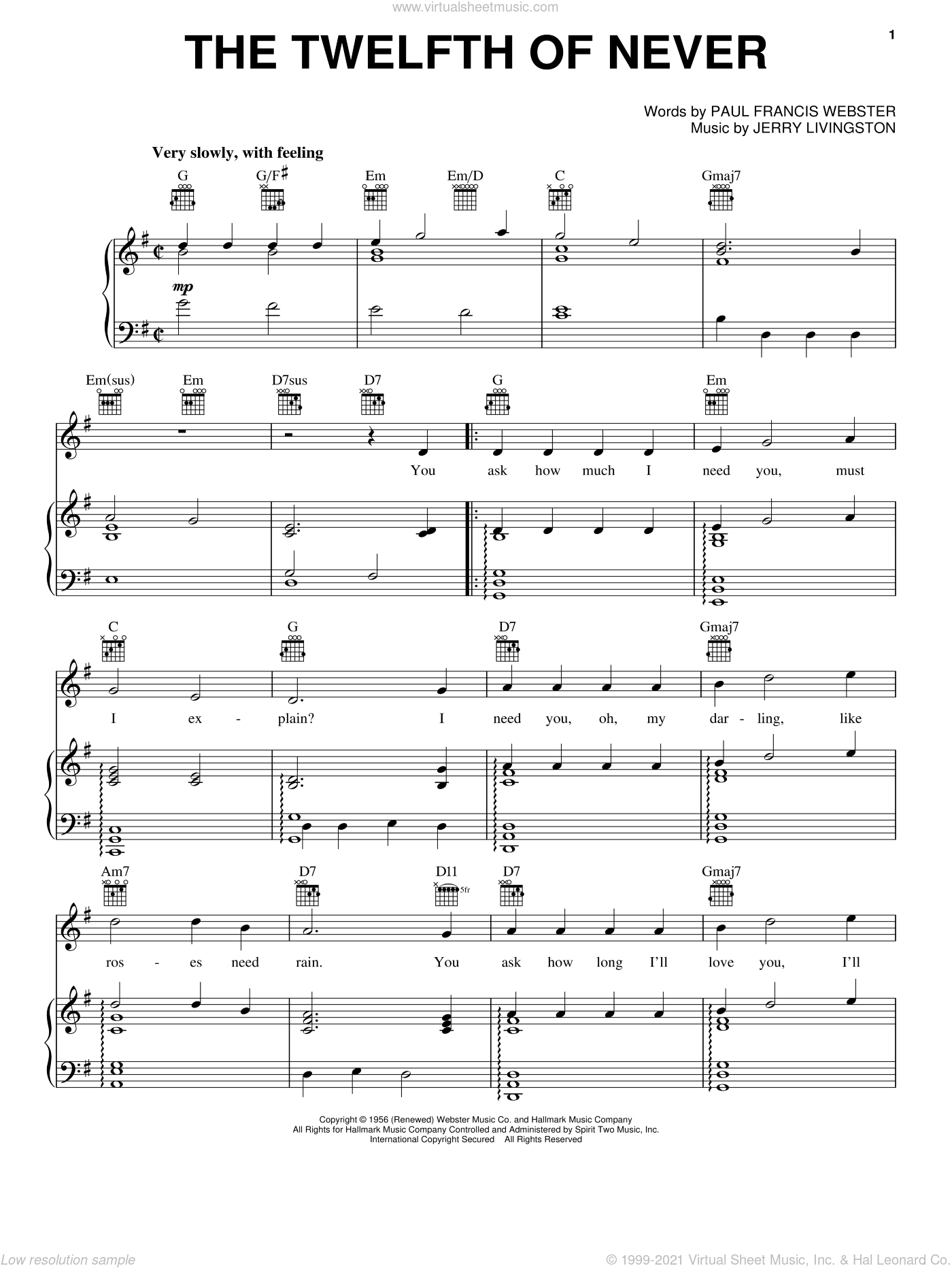 The Twelfth Of Never sheet music for voice, piano or guitar by Johnny Mathis, Donny Osmond, Jerry Livingston and Paul Francis Webster, intermediate skill level