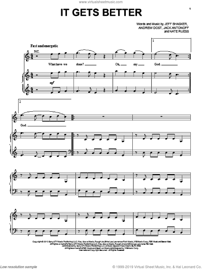 It Gets Better sheet music for voice, piano or guitar by Fun, intermediate skill level