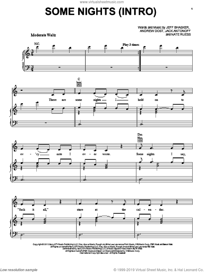 Some Nights (Intro) sheet music for voice, piano or guitar by Fun. Score Image Preview.