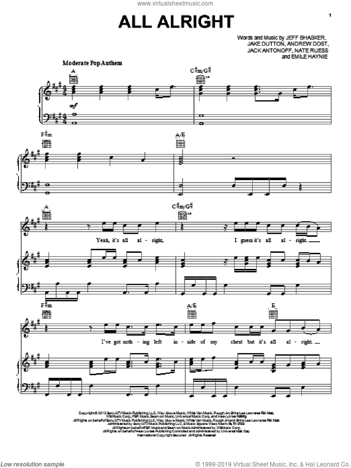 All Alright sheet music for voice, piano or guitar by fun.. Score Image Preview.