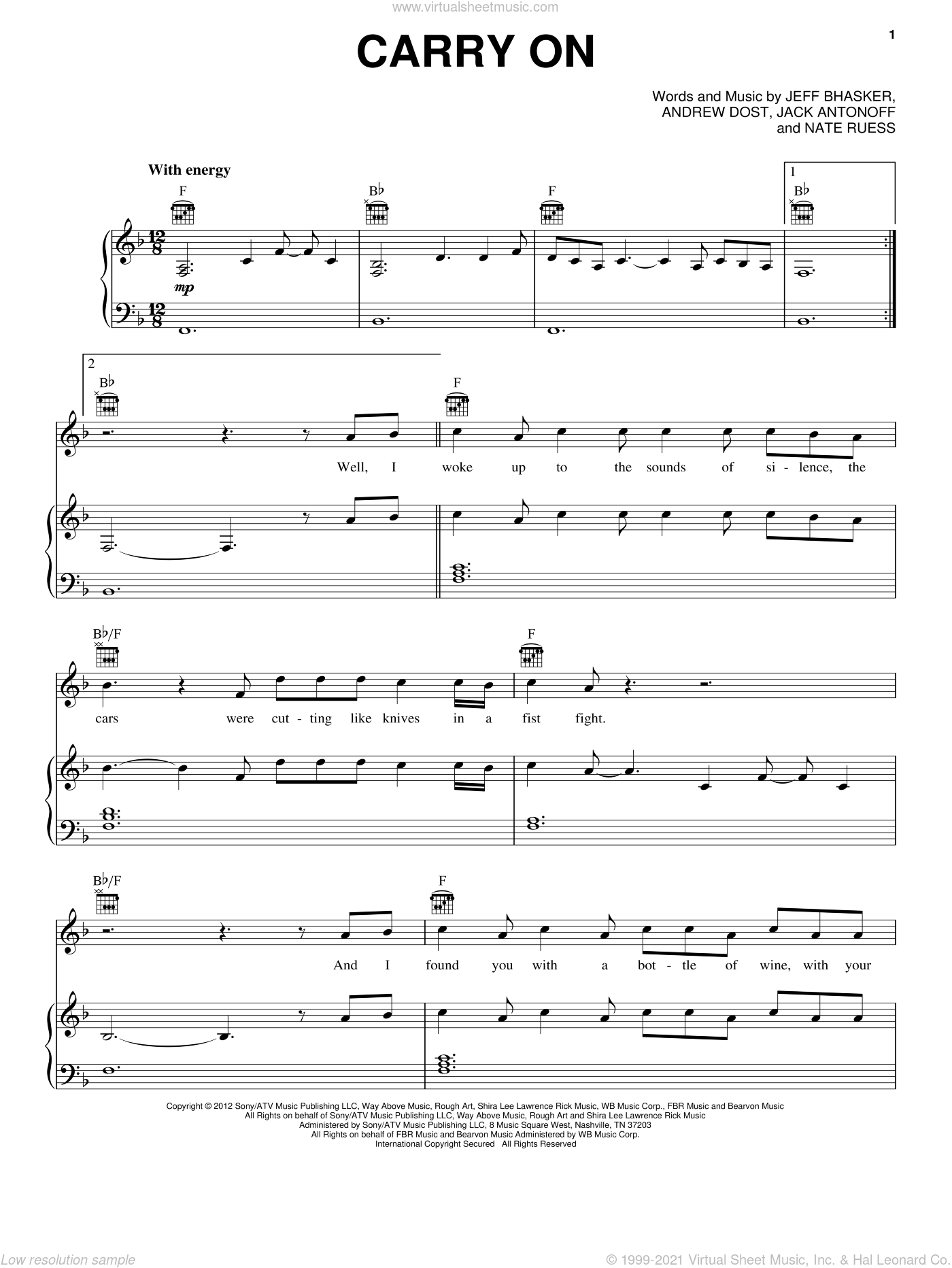 Carry On sheet music for voice, piano or guitar by fun.