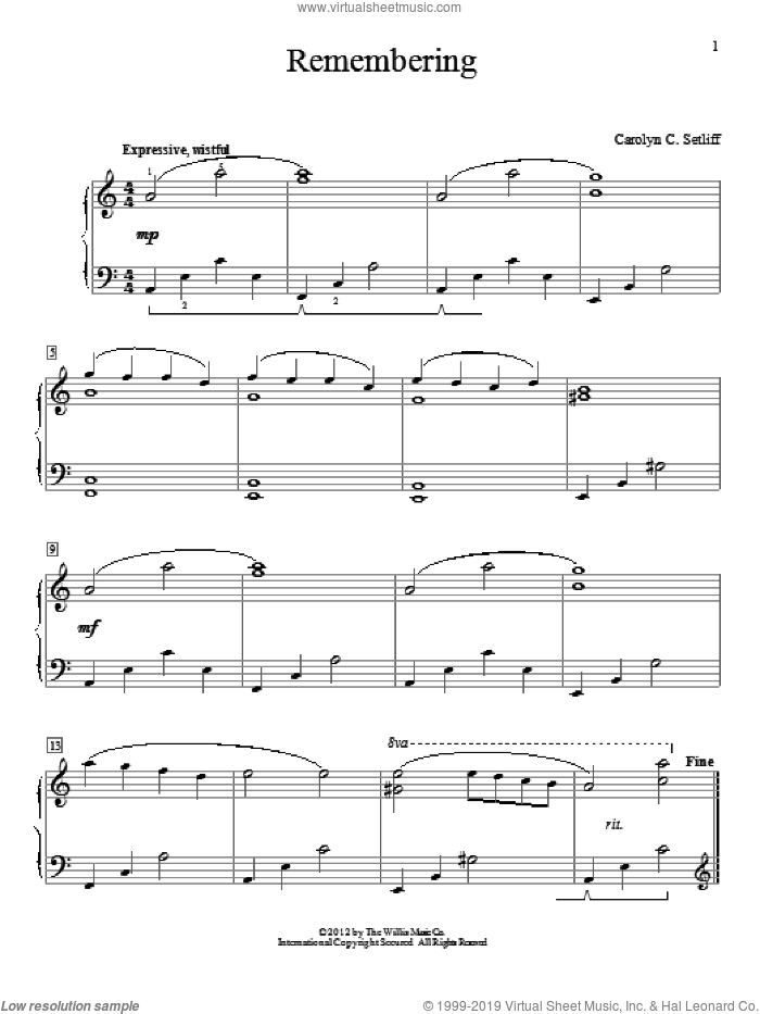 Remembering sheet music for piano solo (elementary) by Carolyn C. Setliff. Score Image Preview.