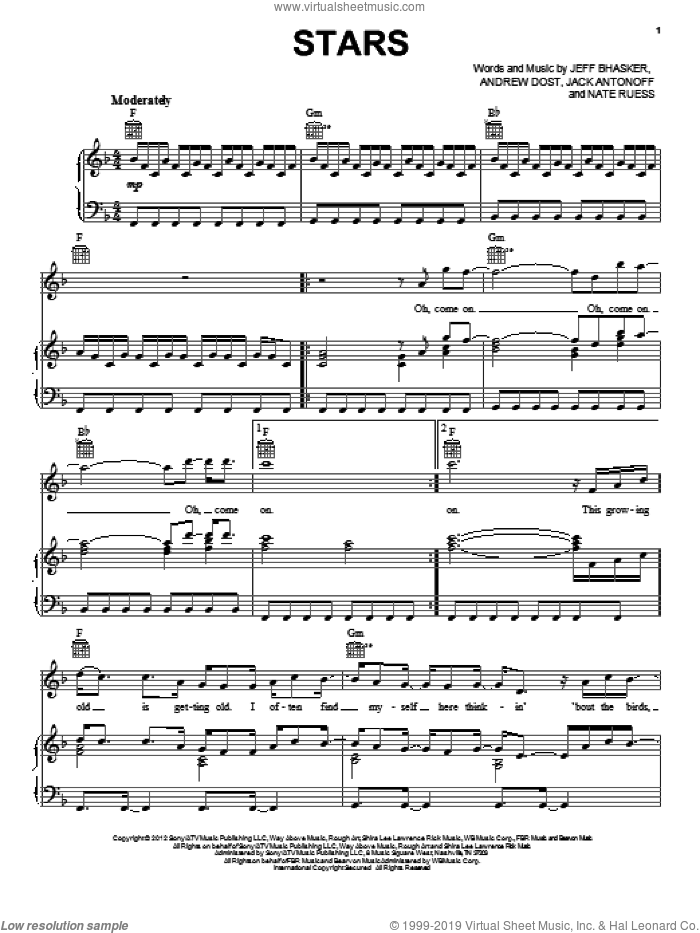 Stars sheet music for voice, piano or guitar by fun.