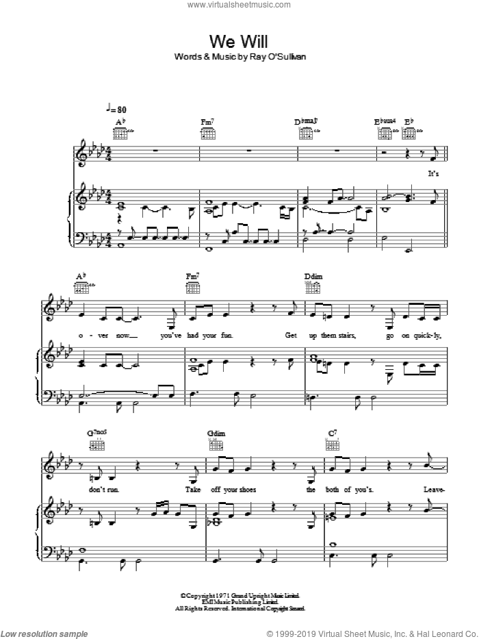We Will sheet music for voice, piano or guitar by Ray O'Sullivan
